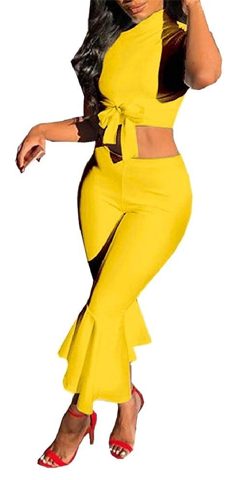 彼蒸留アマチュア女性ソリッドカラー半袖作物トップフレアベルボトムパンツ2個セット