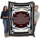 Fire Department - Fireman's Prayer - Cotton Woven Blanket Throw - Made in The USA (72x54)