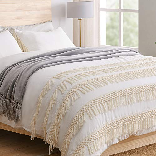 KB & Me Minimalist Boho Chic Solid Ivory Cream Macrame Fringe Knotted Tassel Cotton Duvet Comforter Cover and Sham 2 pc. Off White Twin/Twin XL Size Bedding Set Luxury College