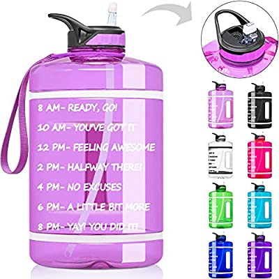 1 Gallon Water Bottle with Time Marker & Straw - 128 oz BPA Free Reusable Large Motivational Fitness Sports Water Bottle Leakproof Big Plastic Gym Water Jug for Biking, Running, Workout (8.Lilac)