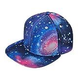 ZLYC Unisex Galaxy Snapback Hat Adjustable Flat Bill Baseball Cap (Blue)