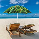 iConcern Sand Anchor 6.5 ft. Beach Umbrella with Tilt and Height Adjustable Connector UV Protection UPF 50+ (Bird of Paradise).