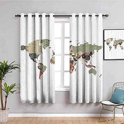 LucaSng Cortinas de Opacas - Mapa del Mundo Simple Blanco - 280x160 cm para Sala Cuarto Comedor Salon Cocina Habitación - 3D Impresión Digital con Ojales Aislamiento Térmico Cortinas