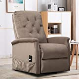 Bonzy Home Power Lift Recliner Chair with Remote Control, Fabric Living Room Chair for Elderly (Camel)
