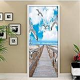 Set Blue Sky Seaside Wooden Bridge Pigeon Decor Home Diy 3D Door Sticker Pattern Wall Room Home Door Auto-Adhesive Decal 77X200Cm