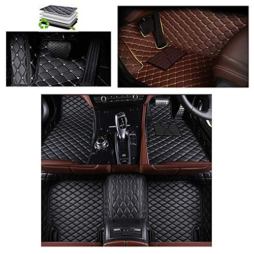 VENMAT Car Floor Mats Custom Fit Ƭesla Model 3 5-Seats 2017-2019 Auto Foot Carpets All Weather Faux Leather Full Surrounded Anti Slip 3D Car Mat Liner Rugs (Black with Black Stitch)