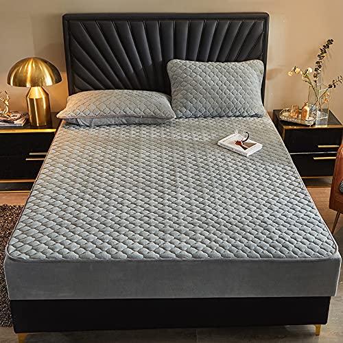 HAIBA Sábana bajera ajustable lisa térmica suave de lujo, color plateado, 180 x 220 cm (3 piezas)