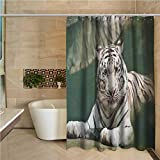 Tiger Odorless Waterproof Shower Curtain Bengal Symbol Swimming White Beast with Black Sprites Large Cat Animals Having Fun Large Home Decoration W95 x L70 Inch Teal White