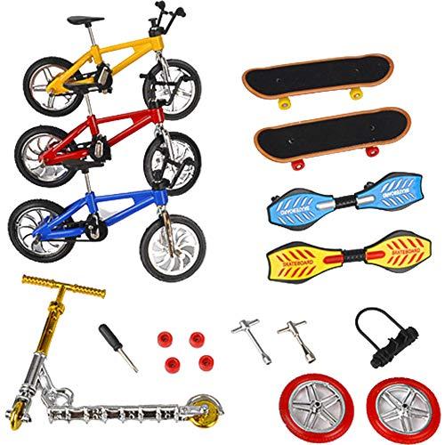 Mini Finger Toys Set de Finger Skateboards Finger Bikes Scooter Tiny Swing Board Ruedas de repuesto y herramientas de los niños Juguetes educativos para el entrenamiento de los dedos