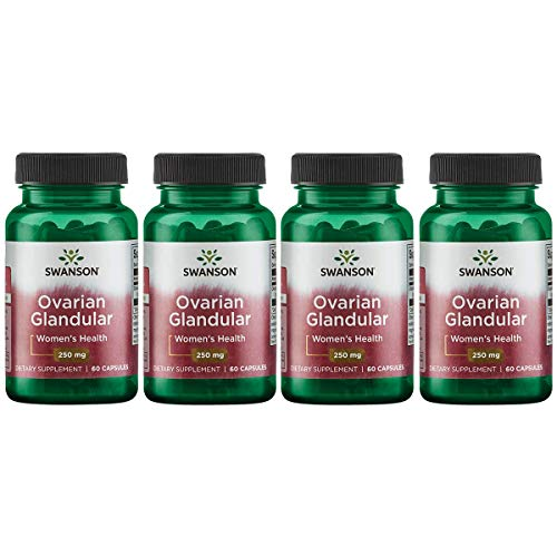 Swanson Ovarian Glandular Women's Hormone Ovarian Health Hormonal Balance Support Supplement 250 mg 60 Capsules (4 Pack)