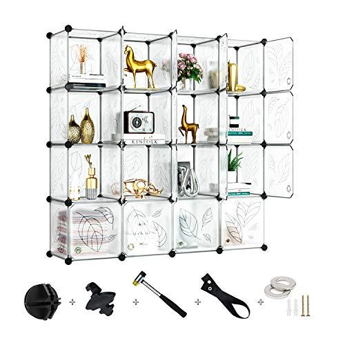 Greenstell Cube Storage Organizer Plastic Closet Organizer with Doors 16-Cube DIY Storage Cubes Organizer Modular Storage Cabinet Book Shelf Shelving for Bedroom Living Room Office White