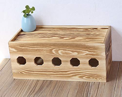 Insun Handgemacht Kabelbox aus Massivholz Schreibtisch Aufbewahrungsbox für Kabel Verwalten und Organisieren Karbonisiertes Holz XL