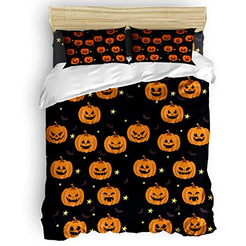 Bedding Duvet Cover 4 PCS Set – Soft Breathable Microfiber Quilt for Adults Kids Teen – Luxurious & Hypoallergenic Lightweight Comforter Cover, Halloween Pumpkin and Bat - Queen
