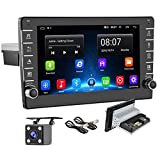 Android Car Stereo Double Din Car Radio with GPS Bluetooth Backup Camera 8 Inch HD Touch Screen Car Multimedia Player FM Radio Support WiFi Mirror Link for Android/iOS Steering Wheel Control Dual USB