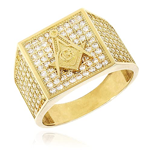 10K Yellow Gold Created Diamond Pave Masonic Signet Ring, 9