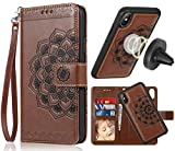 iPhone Xs Max Case, Xs Max Wallet Case with Detachable Slim Case,Card Solts Holder, Fit Car Mount,CASEOWL Mandala Flower Floral Embossed Vegan Leather Flip Lanyard Wallet Case for iPhone Xs Max-Brown