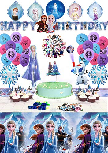 """Conjunto de Suministros para Fiestas de Cumpleaños Princesa de Hielo, Globo de Látex, Adornos para Magdalenas y Pasteles, Globos de Aluminio, Pancarta de """"HAPPY BIRTHDAY"""", Luces de Dedos, Pegatinas"""