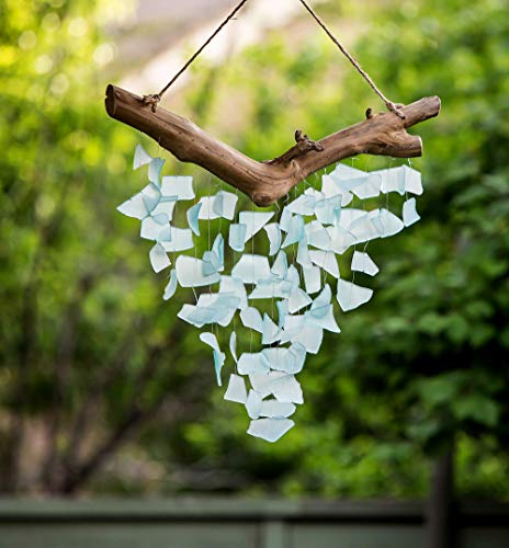 Garden Age Supply Handmade Raindrop Butterfly Recycled Glass Hanging Mobile Wind Chime Suncatcher Beach Decor (Large)