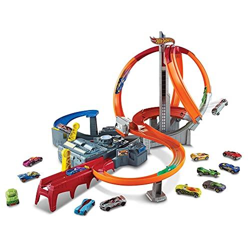 Hot Wheels Action Coffret Piste Ouragan avec propulseur et loopings pour courses et cascades, une petite voiture incluse, jouet pour enfant, CDL45