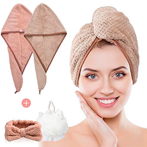 PRETTY SEE Haarturban - Turban Handtuch mit Knopf, 2 Stück Mikrofaser Turban, Haartrockentuch Schnelltrocknend Saugfähig für Alle Haartypen (Braun und Rosa, mit 1 Make-up Stirnband und 1 Badeball)
