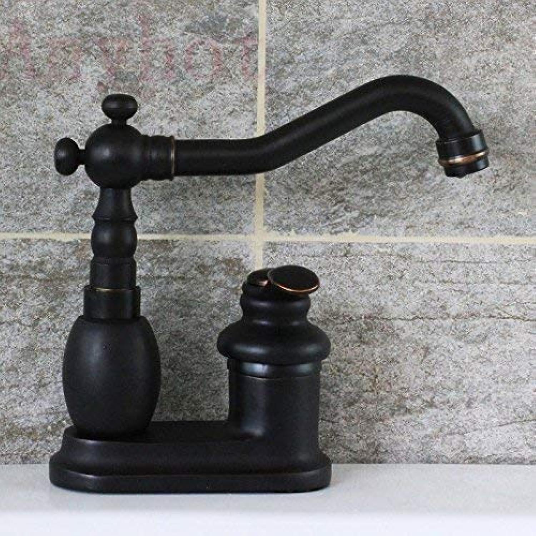 ZHAS Waschbecken Leitungswasser Mischbatterie Schwarz Nachahmung alle Kupfer europischen Doppel-Loch-Wasserhahn
