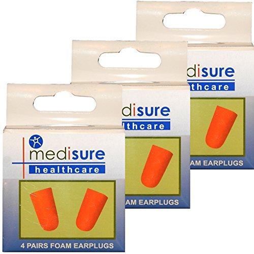 Mediusre Santé Voyage de couchage en mousse souple Bouchons d'oreille Réduction de bruit, Orange, 3 boîtes (12 paires)