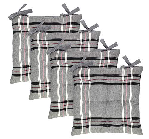COTTON CRAFT - Stanton Plaid Set of 4 Dining Cushion Chair Pads with Ties - Premier Cotton Durable Fabric Cover Thick Comfy Poly Fill - 17 in x 17 in - Black - Indoor Use Only