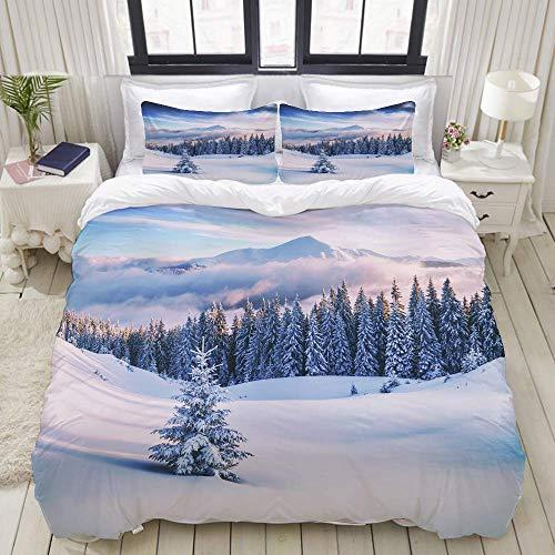 Funda nórdica, árboles snovy en montañas de Invierno con Tonos como Filtro...