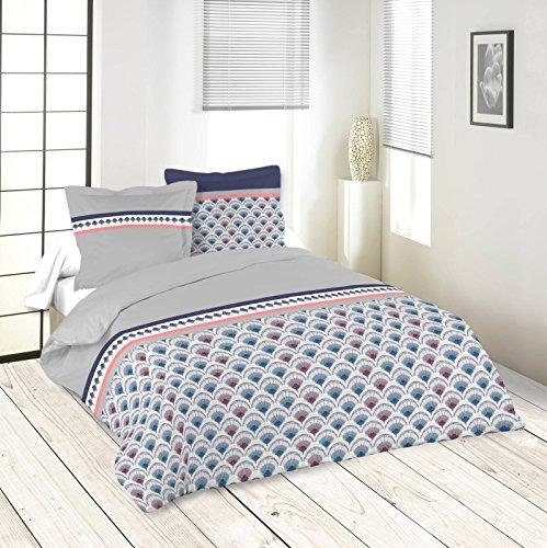 Lovely Casa Risen Housse DE Couette 260X240 CM + 2 TAIES 63X63 CM, Coton, Gris