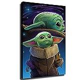 Mandalorian Baby Yoda and Master Yoda HD - Lienzo decorativo de pared para el hogar, sala de estar, dormitorio, oficina, dibujo, decoración de fiestas, 03