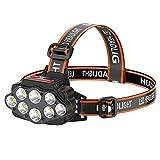 QQWJSH Linterna LED para Faros Delanteros, Faros Delanteros Impermeables Recargables por USB, Adecuado para Acampar al Aire Libre, Ciclismo, Pesca, Resplandor de Faros para Adultos