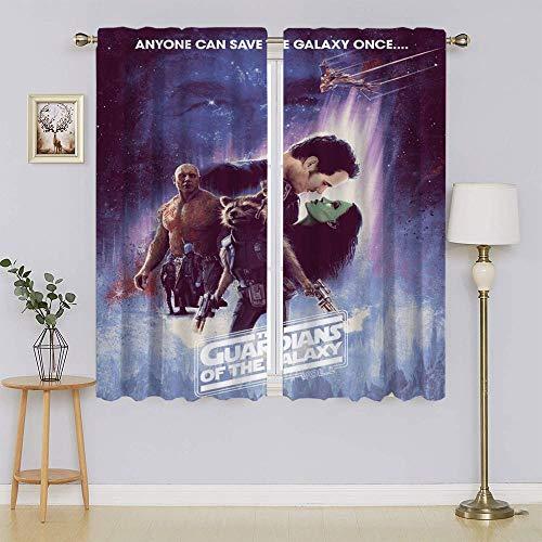 Póster de la película Guardians of the Galaxy Star Lord, Gamora Cortinas opacas térmicas, filtrado de luz para mantener calientes las cortinas de puerta corredera para sala de estar de 163 x 100 cm