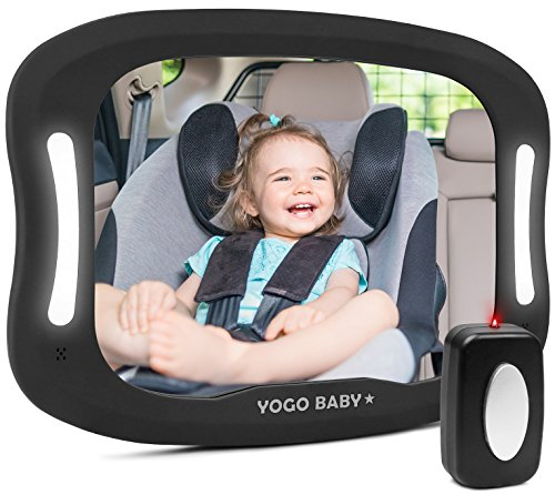 Baby Car Mirror with Remote Control Soft Led Light Shatter-Proof Acrylic Baby Mirror for Car, Rearview Baby Mirror-Easily Observe Babys Every Move, Safety and 360 Degree Adjustability