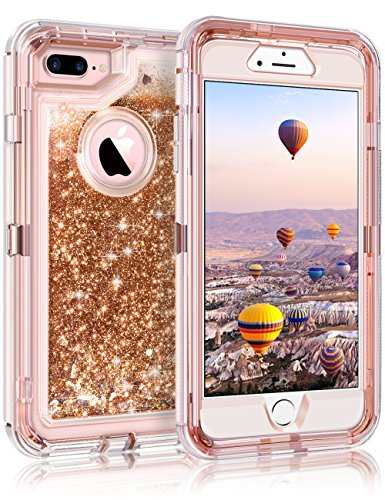 Coolden iPhone 8 Plus Case, iPhone 7 Plus Case, 3D Glitter Sparkle Dual Layer Quicksand Bling Sparkle Cover Shockproof Bumper Anti-Drop PC Frame TPU Back for iPhone 7 Plus 8 Plus, Light Coffee