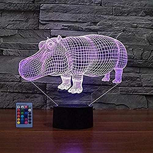 3D Illusion Hippo Art Deco Light 3Dled Light Control Remoto 77 Cambio De Color Luz Nocturna Operación Usb Regalo Para Niños Regalo De Cumpleaños