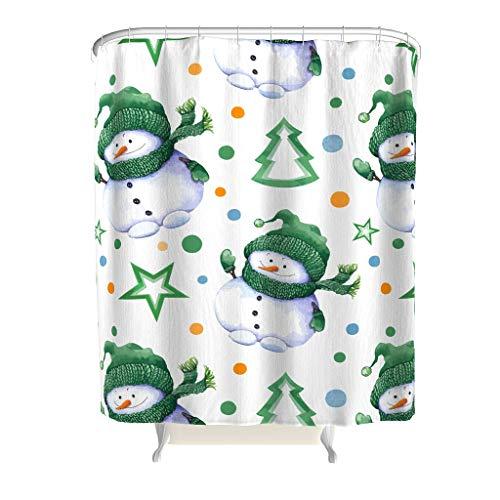 CUCIN Kerstmis sneeuwman kleurrijk douchegordijn voor badkamer kerstboom patroon decoratie ontwerp met haken waterdicht polyester douchegordijn voor badkuipen