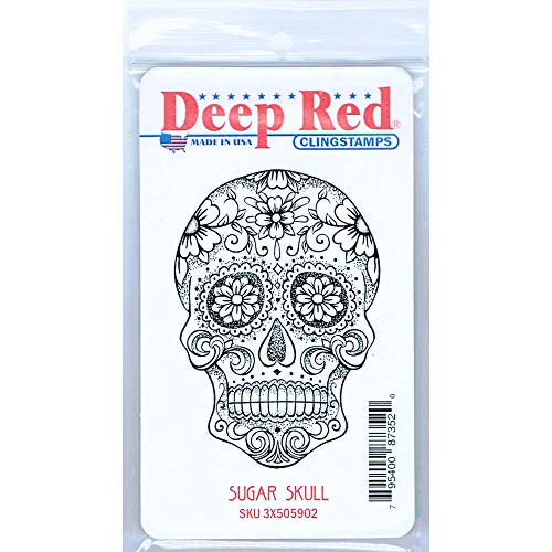 Deep Red Sugar Skull Rubber Cling Stamp