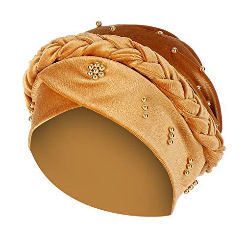 Sombrero, Mujeres Sólido Abalorios India Sombrero Musulmán Volantes Cáncer Quimioterapia, Gorro Envoltura Gorra, Descuentos Día de San Patricio (tamaño Oro)