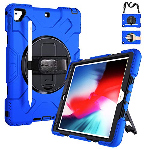iPad 6th/5th Generation Cases, iPad 9.7 Case Military Grade [15ft Drop Tested] Full-body Shockproof Protective Cover with Stand Hand Strap Shoulder Strap Pencil Holder for iPad Air 2/Pro 9.7 Inch Blue