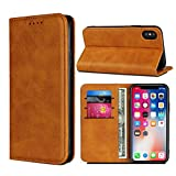 Cavor for iPhone X Case,Cowhide Pattern Leather Magnetic Wallet Case Cover with Card
