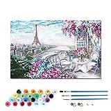 Kit de pintura al óleo por números para niños y adultos principiantes, incluye pinceles y pigmentos acrílicos, decoración de hogar-Jardín cálido 30 × 40 cm