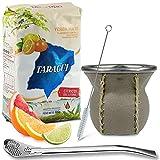 Juego de té mate: Yerba Mate Taragui Citricos del Litoral, 0,5 kg, vaso mate de cristal con revestimiento de piel auténtica (marrón claro), calabaza, bombilla y cepillo de limpieza