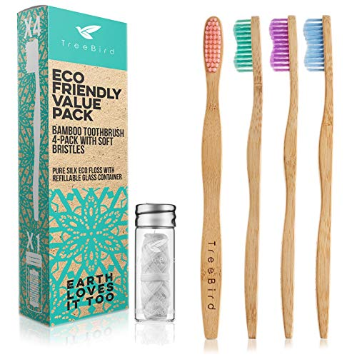 Bamboo Toothbrush 4-Pack & Compostable Silk Dental Floss with Refillable Glass Holder | Biodegradable Oral Care Set | Soft BPA-Free Bristles | Natural Eco-Friendly Gifts for Men & Women | Moso Handle