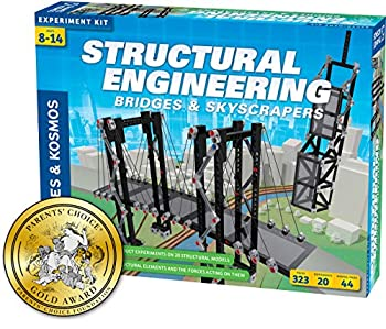 Thames & Kosmos Structural Engineering  Bridges & Skyscrapers | Science & Engineering Kit | Build 20 Models | Learn about Force Load Compression Tension | Parents  Choice Gold Award Winner Blue