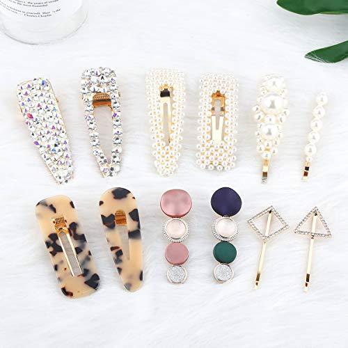 Perle Haarspangen-12 PCS Elegante handgemachte Haarspangen Acrylharz Haarspangen Haarspange Haarnadeln für Frauen & Damen Mädchen von Makone