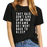BLACKMYTH Women T Shirt Grahpic Letter tee Shirt Fashion Short Sleeve Tops Summer Black X-Large