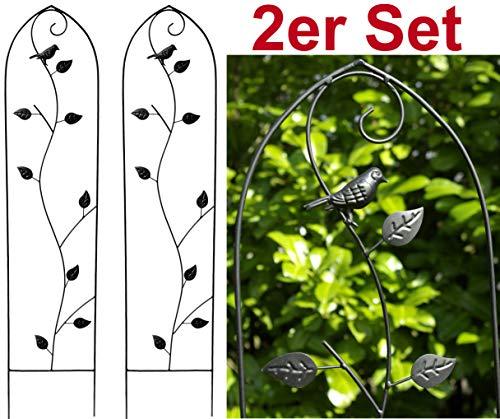 GeKi Trend 2er Set Rankhilfe Rankgitter Eisen Metall schwarz 21 x 102 cm groß Deko-Vogel