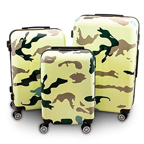 BERWIN® Design Koffer Reisekoffer Trolley Hartschalenkoffer Polycarbonat mit 4 Rollen als Set (Camouflage, 3er Set (M/L/XL))
