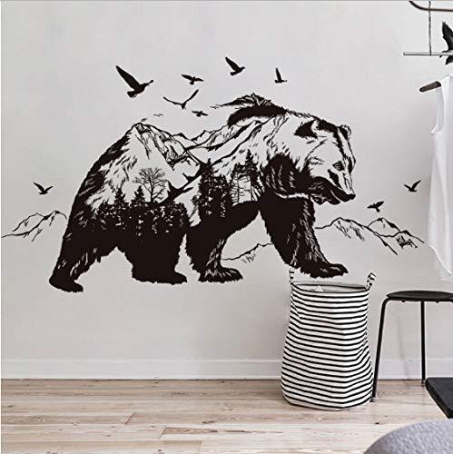 Pegatinas de pared de vinilo de oso ferozmente negro Sala de estar Dormitorio Sofá Decoración de fondo Animales extraíbles Tatuajes de pared Mural de arte