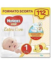 HUGGIES Extra Care Bebè - Pannolini Taglia 1 (2-5 kg), Confezione da 112 Pezzi (4 x 28)